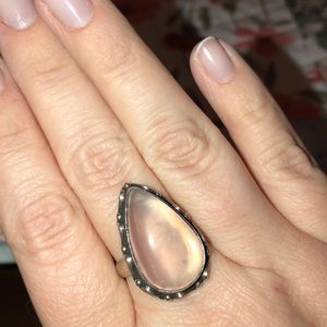 Jewelry - Rose Quartz Stone Silver Ring